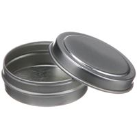 15 ml Silver Metal Round Balm Tin with Slip On Cover - Angled View Open