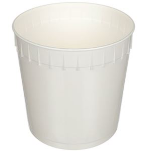 2.5 Gallon White HDPE Plastic Round Pail with 239 mm Outside Diameter - Angled View