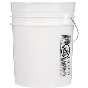 5 Gallon Natural HDPE Plastic Pail with Metal Swing Handle - Side View