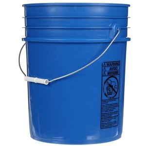 5 Gallon Blue HDPE Plastic Round Pail with Metal Swing Handle - Side View