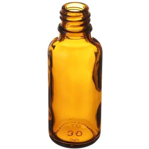 30 ml (1 oz) Amber Glass Euro Dropper Bottle -  18mm Neck Finish - Angled View