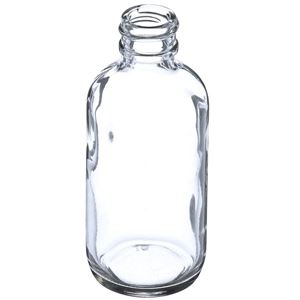 2 oz Clear Glass Boston Round Bottle - 20-400 Neck Finish - Angled View