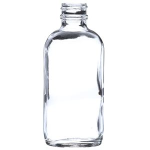 4 oz Clear Glass Boston Round Bottle - 22-400 Neck Finish - Side View