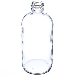 8 oz Clear Glass Boston Round Bottle - 24-400 GPI Neck Finish - Angled View