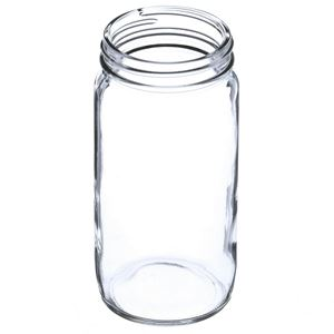 8 oz Clear Glass Round  Straight Sided Jar - 58-400 Neck Finish - Angled View