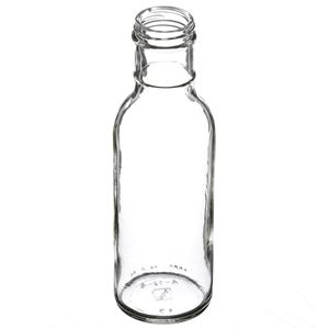 12 oz Clear Glass Round Long Ring Neck Sauce Bottle - 38-400 Neck Finish - Angled View