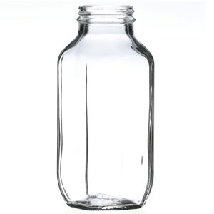 16 oz Clear Glass French Square Jar - 48-400 Neck Finish - Side View