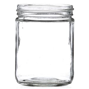 16 oz Clear Glass Round Wide Mouth Jar - 83-400 Neck Finish - Side View