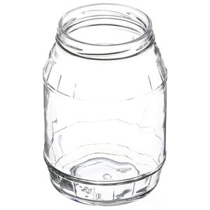 32 oz Flint Glass Barrel Jar Round - 82-2040 Neck Finish - Angled View
