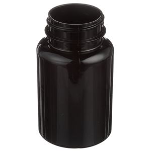 120 cc Dark Amber PET Plastic Round Packer Bottle - 38-400 Neck Finish - Angled View