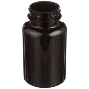 150 cc Dark Amber PET Plastic Round Packer Bottle - 38-400 Neck Finish - Angled View