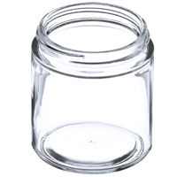 4 oz Clear Glass Straight Sided Round Jar - 58-400 Neck Finish - Angled View