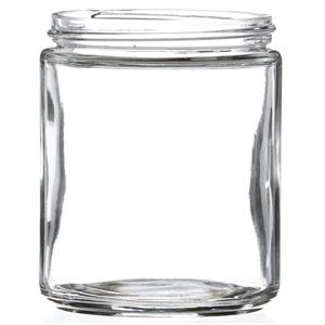 8 oz Clear Glass  Round Jar - 70-400 Neck Finish - Front View