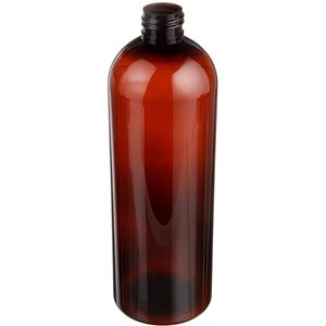 32 oz Light Amber PET Plastic Bullet Round Bottle - 28-410 Neck Finish - Angled View