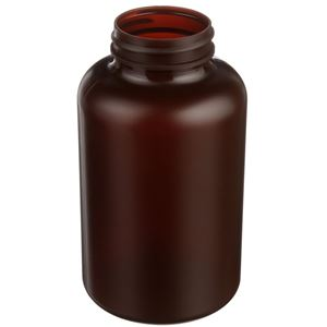400 cc Amber HDPE Plastic Round Packer Bottle - 45-400 Neck Finish - Angled View