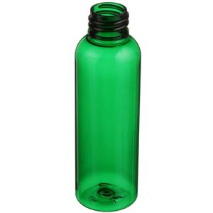 2 oz Green PET Plastic Bullet Round Bottle - 20-410 Neck Finish - Angled View