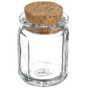 1.2 oz Clear Glass Cork Top Octagon Jar - Decorative Cork Closure Included  - Angled View