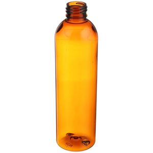 8 oz Amber PET Plastic Bullet Round Bottle - 24-410 Neck Finish- Angled View