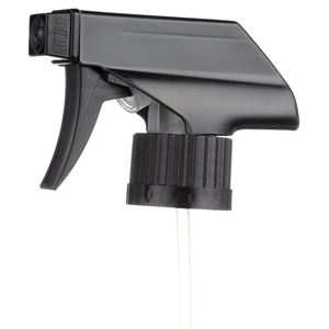 "28-400 Black  P/P Plastic Ribbed Skirt Ratchet Trigger Sprayer with 9.5"" Dip Tube - Angled View"