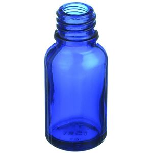 15 ml Colbalt Blue Glass Euro Dropper Bottle - 18mm Neck Finish - Angled View