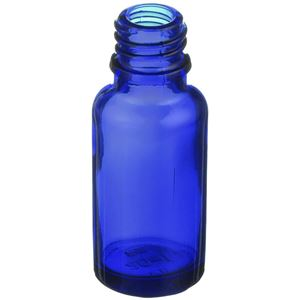 20 ml Cobalt Blue Glass Round Euro Dropper Bottle - 18mm Neck Finish - Angled View