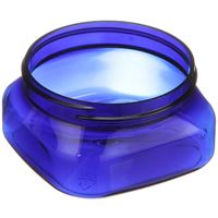 4 oz Cobalt Blue PET Plastic Round Jar - 70-400 Neck Finish - Angled View