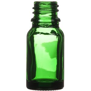 10 ml Green Glass Round Euro Dropper Bottle - 18mm Neck Finish - Side View
