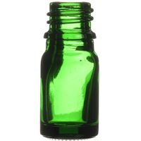 5 ml Green Glass Round Euro Dropper Bottle - 18mm Neck Finish  - Side View