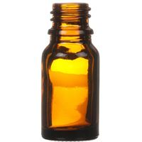 10 ml Amber Glass Round Euro Dropper Bottle - 18mm Neck Finish - Front View