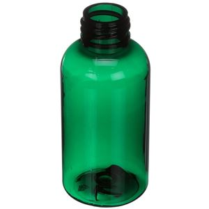 2 oz Dark Green PET Plastic Boston Round Bottle - 20-410 Special Neck Finish - Angled View