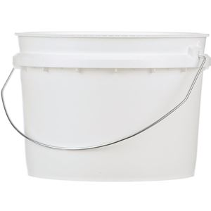 1 Gallon White HDPE Plastic Round Tamper Evident Pail with Metal Swing Handle - Front View