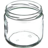 12 oz Clear Glass Round Jar - 82-2040 Neck Finish - Angled View