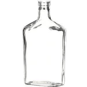 750 ml Clear Glass Oblong Reverse Tapered Liquor Bottle - 32mm-3120 Bar Top Neck Finish - Front Angled View