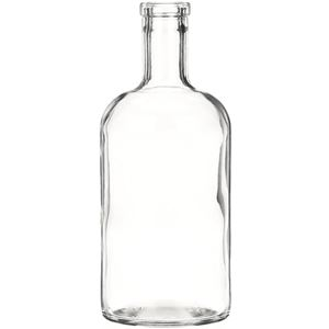 750 ml Clear Glass Round Dome Shoulder Liquor Bottle - 34.5 mm-3120 Bar Top Neck Finish - Front View