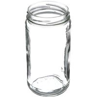 12 oz Clear Glass Round Paragon Jar - 63-2030 Lug Neck Finish - Angled View