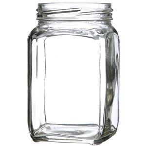 292 ml Clear Glass Square Straight Sided Jar - 63-2030 Lug Neck Finish - Front Angled View