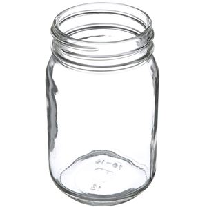 16 oz Clear Glass Round Jar - 70-450 Deep Skirt Neck Finish - Angled View