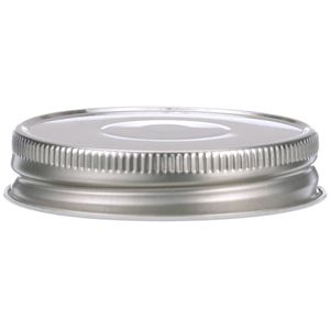 70-450 Lined Continuous Thread Silver Metal Closure - Vacuum Button - Front View