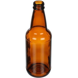 12 oz Amber Glass Beer Bottle Round - 26mm Twist Crown Neck - Angled View