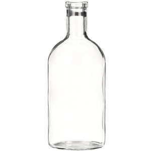 750 ml Clear Glass Round Shoulder Liquor Bottle - 34.5-312 Bar Top Neck Finish - Front View