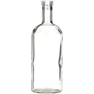 750 ml Clear Glass Round Shoulder Liquor Bottle - 32 mm-3120 Bar Top Neck Finish - Front View