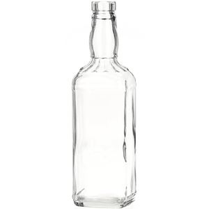 750 ml Clear Glass Square Fluted Shoulder Liquor Bottle - 32 mm-3120 Bar Top Neck Finish - Front View