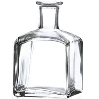 210 ml Clear Glass Cork Top Square Bottle  - Front View