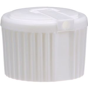 24-410 Flip Spout Dispensing Linerless White LLDPE Plastic Closure - 3mm Orifice - Front View