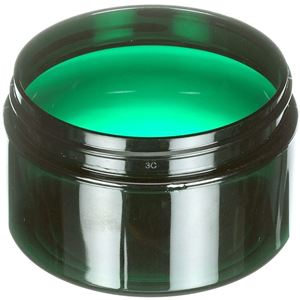 4 oz Dark Green PET Plastic Round Low Profile Jar - 70-400 Neck Finish  - Angled View