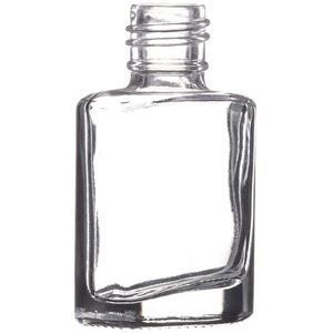 7.5 ml Clear Glass Oval Straight Sided Nail Polish Bottle - 13-415 Neck Finish - Front Angled View
