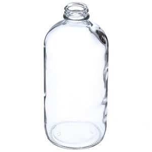 16 oz Clear Glass Boston Round Bottle - 28-400 GPI Neck Finish - Safety Coated  - Angled View