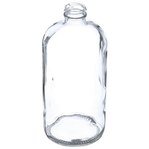 32 oz Clear Glass Boston Round Bottle - 33-400 Neck Finish - Angled View