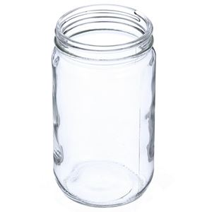 32 oz Clear Glass Round Straight Sided Jar - 89-400 Neck Finish - Angled View
