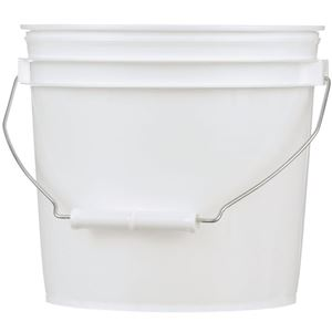 1 Gallon White HDPE Plastic Round Pail with Metal Swing Handle - Front View